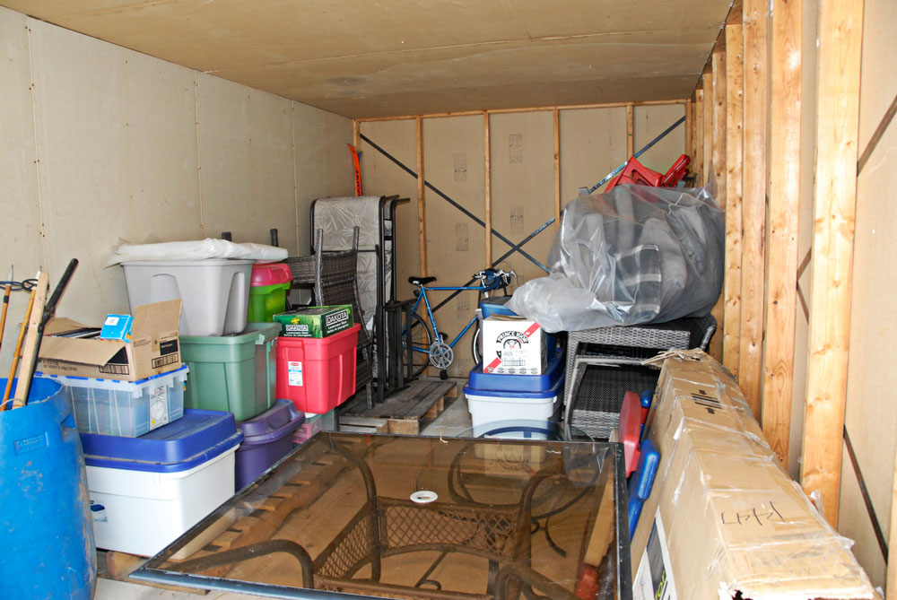 storage unit with household items